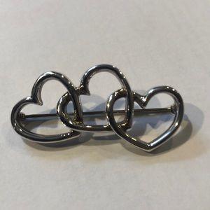 Vintage Tiffany Triple heart pin